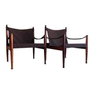 Erik Worts Rosewood Safari Sling Chair - Pair