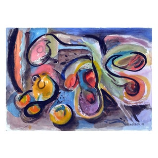 Abstract Fruit Watercolor Painting