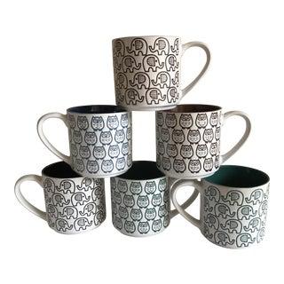 Retro Elephant & Owl Stackable Mugs - Set of 6