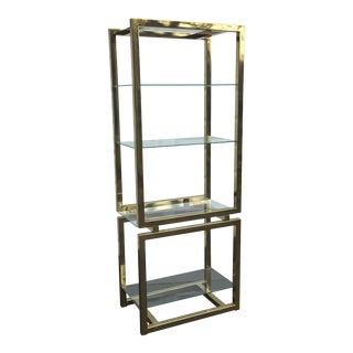 Vintage Modern Brass and Glass Etagere