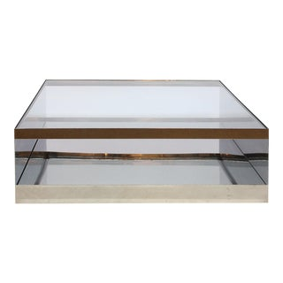Joseph D'Urso's Industrial Coffee Table of Steel and Glass, Knoll International