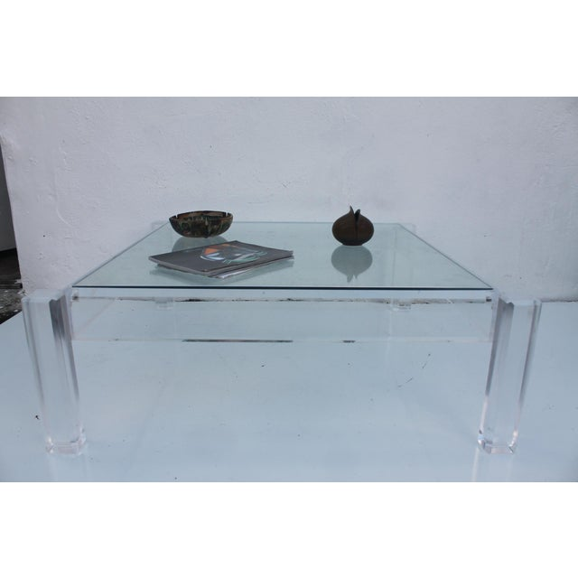Vintage Lucite Coffee Table With Insert Glass Top Chairish