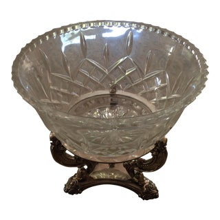 Cut Glass Bowl on Silverplate Pedestal