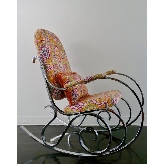 Vintage Mid-Century Modern Rocking Chair Upholstered in Brunschwig & Fils Fabric - Image 8 of 8
