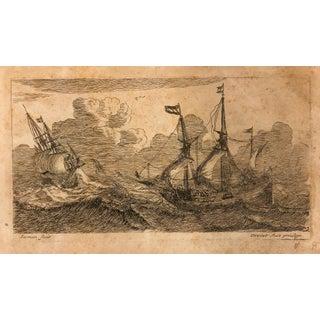 Antique 1650 Zeeman's Ships Print