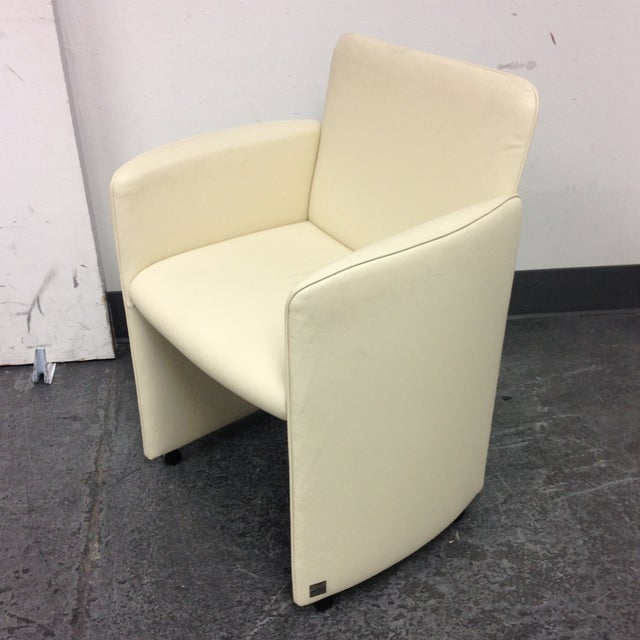 Ivory Leather Chair by Calia - Image 2 of 10