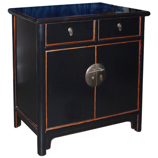 Two-Drawer Black Lacquer Cabinet - Image 2 of 5