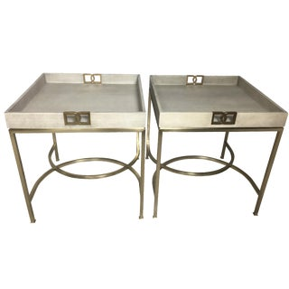 Bernhardt Leather & Brass Tray Tables - A Pair