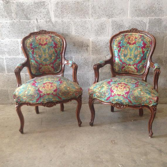 Multicolor Louis XVI Chairs - A Pair - Image 2 of 6