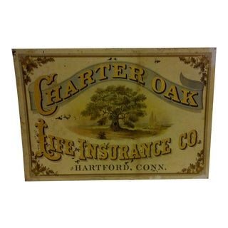 "Vintage Metal ""Charter Oak"" Advertising Sign"