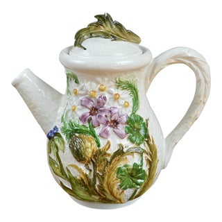 Italian Majolica Floral Coffee Pot