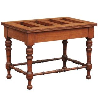 English Mahogany Luggage Rack from the Late 19th Century with Turned Legs