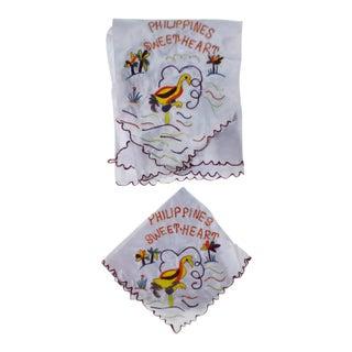 Vintage WW2 Philippines Sweetheart Satin Scarf & Handkerchief