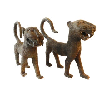African LG Benin Bronze Leopards - a Pair