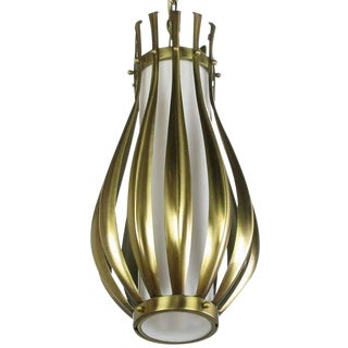 Gourd-Form Brushed Brass and Milk Glass Pendant Light