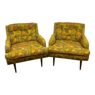 Pair of Arm Chairs With Jack Lenore Larsen Upholstery by Milo Baughman for James Inc.