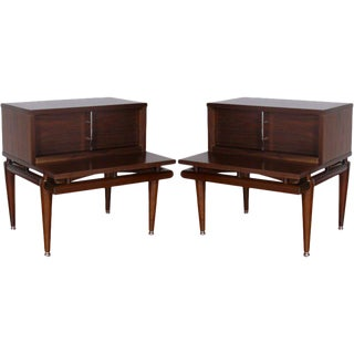 Pair of Tiered Walnut End Tables