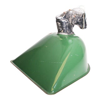 Vintage Industrial Large Green Enamel Light Fixture with Bracket