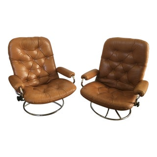 Vintage Mid-Century Modern Reclining Chair By Ekornes Stressless (A Pair)