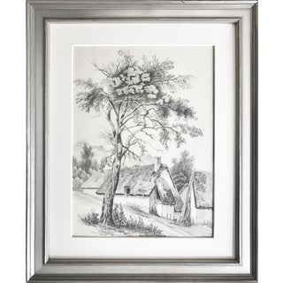 19th C French Cottage Landscape Drawing