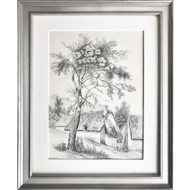 19th C French Cottage Landscape Drawing - Image 1 of 5