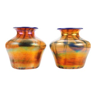 Imperial Art Glass Heart & Vine Decor Vases- A Pair