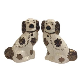 Gold Staffordshire Dog Figurines - A Pair