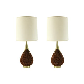 Laurel Mid-Century Cork and Brass Teardrop Lamp
