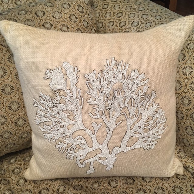 Decorative Beaded Coral Accent Pillow Chairish
