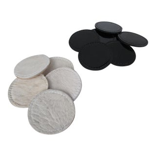 Cow Hide & Patent Leather Coasters - Set of 12