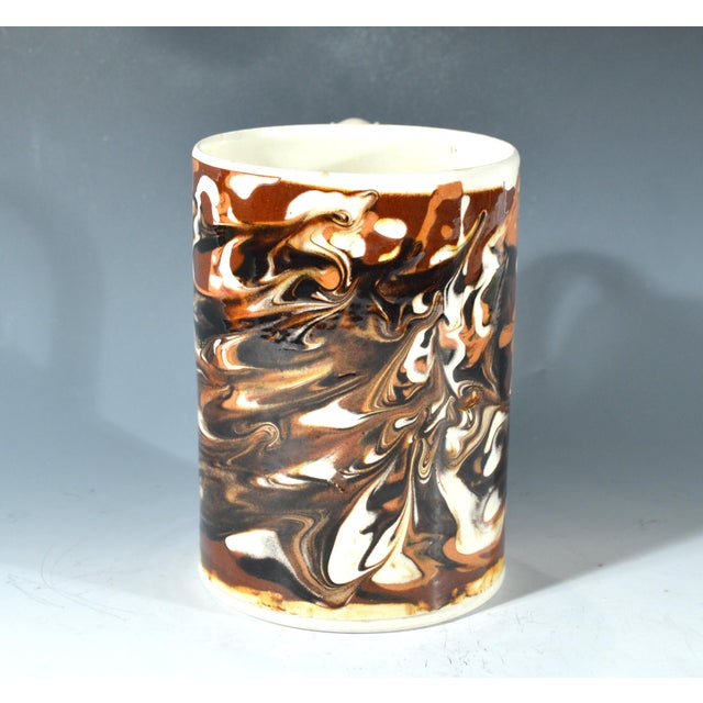Marbled Creamware Mocha Pottery Tankard. - Image 3 of 6