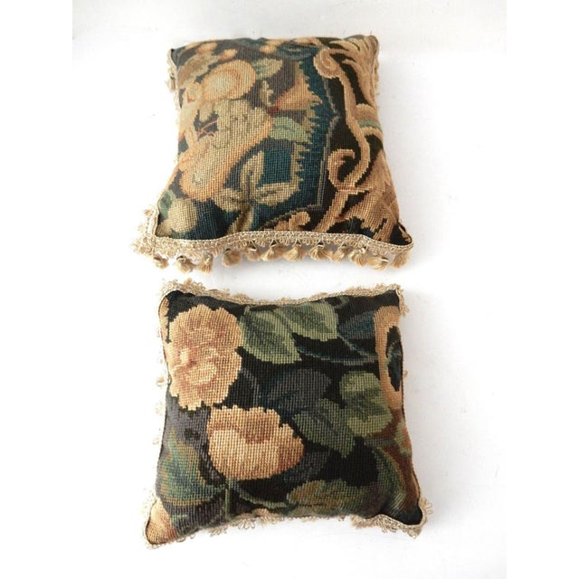 French Square Verdure Petit Point Pillows - a Pair - Image 4 of 8