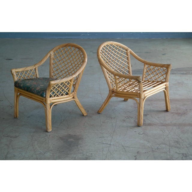 Mid Century Modern Danish Rattan Armchairs - a Pair - Image 10 of 11
