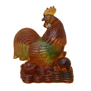 Crystal Glass Liuli Pate-de-verre Chinese Zodiac Rooster Feng Shui Figure