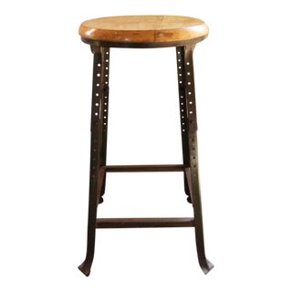 Vintage Industrial Backless Wood and Metal Bar Stool