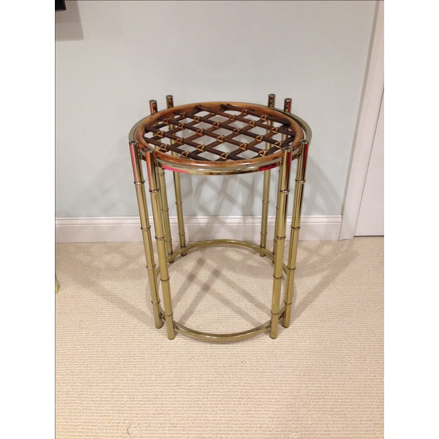 Image of Faux Bamboo Brass and Rattan Chairs & Table Base