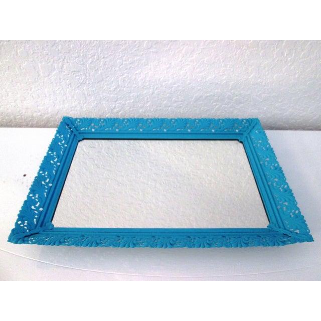 Aqua Blue Mirrored Vanity Tray Chairish