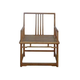 Natural Raw Wood Rectangular Straightback Armchair