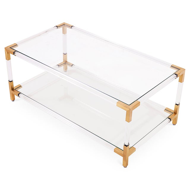 Gold & Acrylic Frame Coffee Table With Glass Shelves