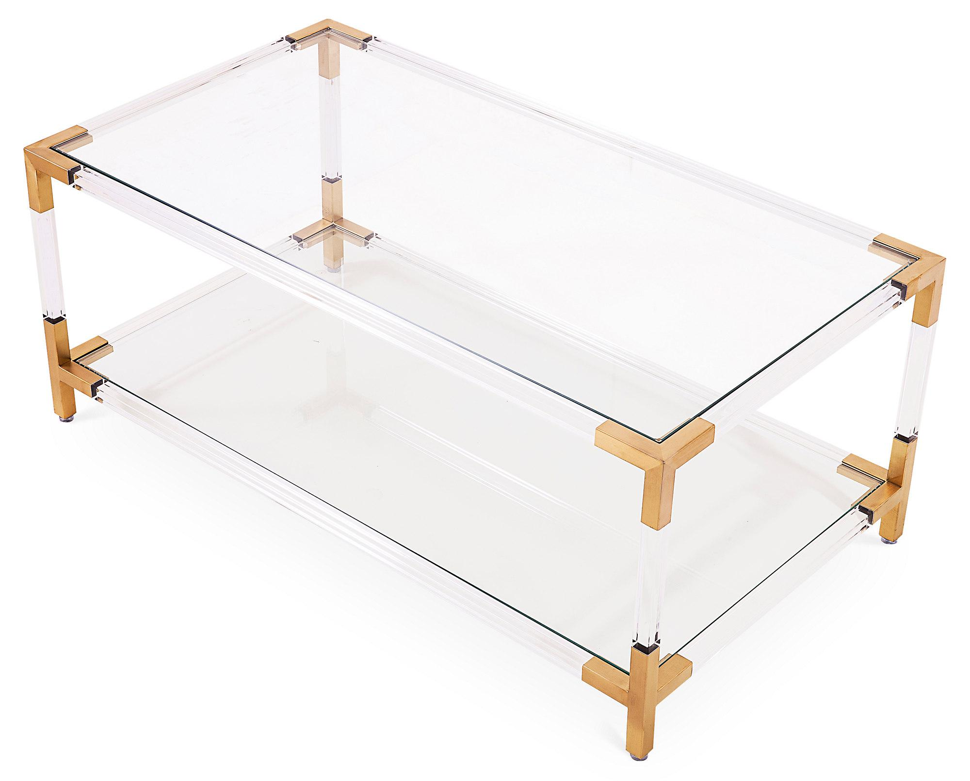 image of gold u0026 acrylic frame coffee table with glass shelves