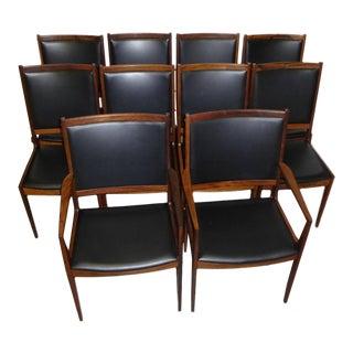 Ten Rosewood Ib Kofod-Larsen Dining Chairs, Denmark 1960s