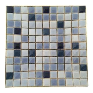Mid-Century Blue Mosaic Ceramic Tile Square Dish