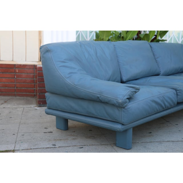 Modern leather teal sofa chairish for Teal leather sofa