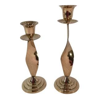Vintage Swirl Stem Candlesticks - A Pair