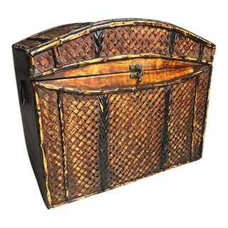 Vintage Wood & Woven Bamboo Chest / Box