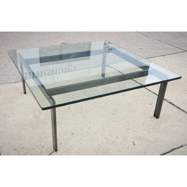 Mid century modern metal frame glass coffee table chairish for Metal frame glass coffee table