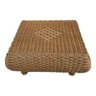 Wicker End Table with Glass Top