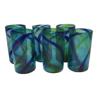Blue Striped Hand Blown Glasses - Set of 6