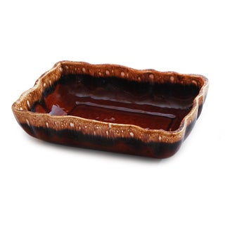 Imperial USA Brown Drip Glaze Vintage Candy Dish