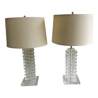 Clear Lucite Lamps - A Pair